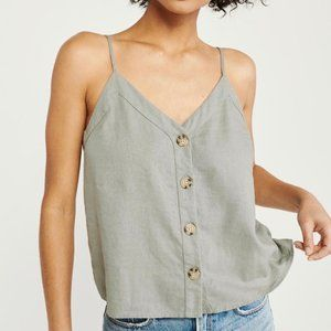 A&F Button-Front Linen-Blend Olive Green Cami